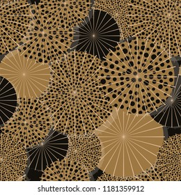 dotted umbrellas from above seamless pattern in gold shades