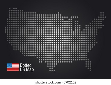 Dotted US Map (US flag included.)