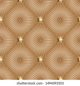 Dotted waffle 3d quilt vector seamless pattern. Surface textured quilted backgrond. Geometric ornamental halftone dots backdrop. Jewelry style gold 3d buttons. Patterned rhombus. Luxury ornate texture