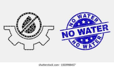 Dotted water service mosaic pictogram and No Water seal stamp. Blue vector round scratched seal with No Water message. Vector composition in flat style.