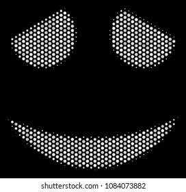 Dotted white embarassed smile icon on a black background. Vector halftone pattern of embarassed smile icon organized of circle items.
