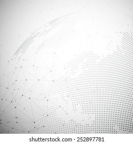 Dotted world globe, light design vector illustration.