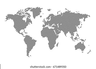 Dotted world map - Abstract black pixel colorful on white background. vector illustration eps 10.