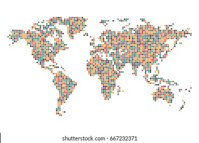 Dotted world map - Abstract pixel colorful on white background. vector illustration eps 10.