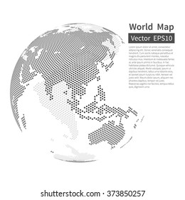 Dotted World Map Background. Earth Globe. Globalization Concept. Black And White. Vector.