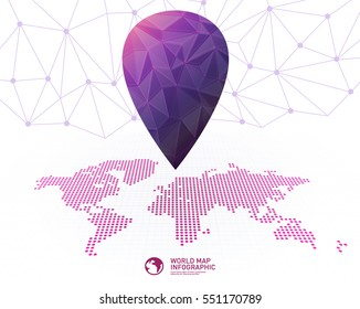 Dotted world map with big pointer mark
