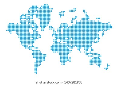 Dotted world map. Digital earth concept.