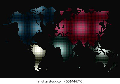 Dotted world map, five colors, dark gray background