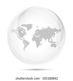 Dotted world map in a gray glass sphere on white