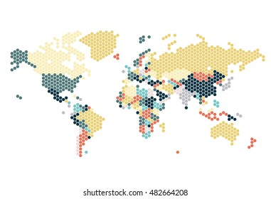 Dotted World map of hexagonal dots on white background. Vector illustration.