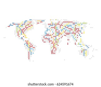 Dotted world map infrastruscure and communication lines