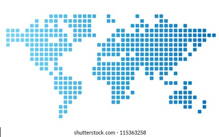 Dotted world map made of rounded rectangles. Vector illustration.
