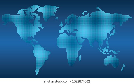 Dotted world map on a blue background, vector illustration.