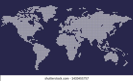 Dotted world map on blue background