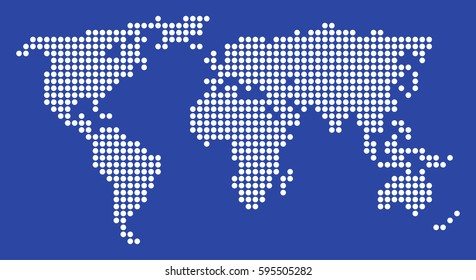 Dotted world map on blue background. Vector.
