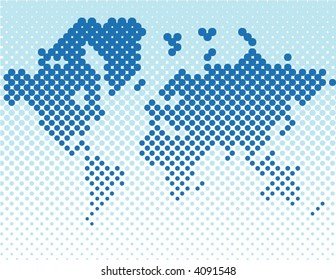 Dotted World Map - vector -