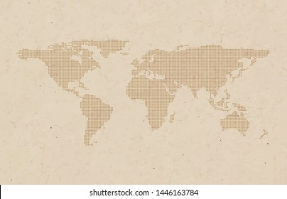 Dotted world map vector background. Grunge brown paper texture style