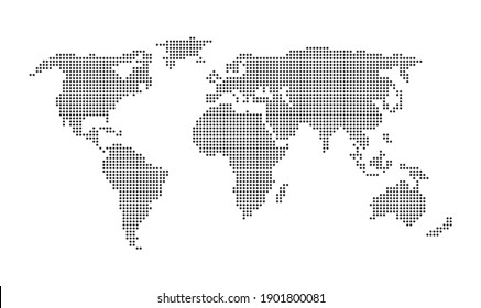 Dotted world map vector, isolated on white background.