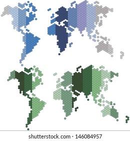Dotted world maps, set