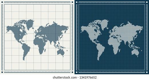 Dotted world maps set over blueprint background. Vector retro illustration.