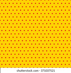 Dotted yellow and red pop art pattern. Seamlessly repeatable background with circles.