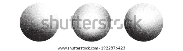 Dotwork 3D Spheres vector background. Sand grain effect. Black noise stipple dots. Abstract noise dotwork balls. Black dots grunge round elements. Stipple circles. Dotted vector spheres.