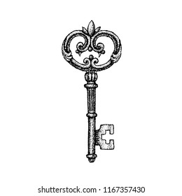 Dotwork Ancient Key. Vector Illustration of T-shirt Design. Tattoo Hand Drawn Sketch.