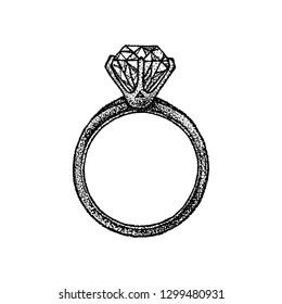 Dotwork Diamond Ring. Vector Illustration of T-shirt Design. Tattoo Hand Drawn Sketch.