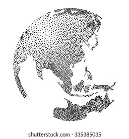 Dotwork Halftone 3D Earth Planet. Engraving Vector Illustration. World Globe concept.