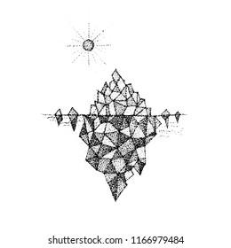Dotwork Polygonal Mountain. Vector Illustration of T-shirt Design. Tattoo Hand Drawn Sketch.