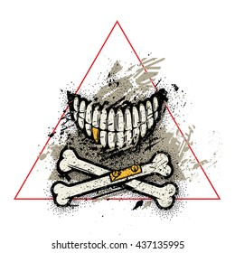 Dotwork skull smile with crossed broken bones and golden tooth. Vector art. Grunge graphic style with dust, dirt, splatters and splashes.