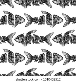 Dotwork Sliced Fish Seamless Pattern. Vector Illustration of Tattoo Hand Drawn Sketch.