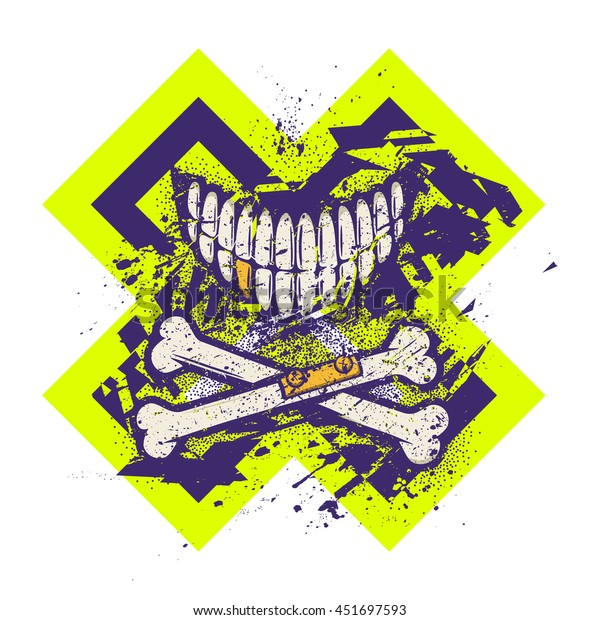 Dotwork tattoo styled skull smile with crossed broken bones and golden tooth. Vector art. Grunge graphic style with dust, dirt, splatters and splashes. Ready for digital print, T-shirt silkscreen.