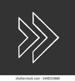 Double arrow chalk icon. Rewinding button. Navigation pointer, indicator symbol. Next, forward arrow pointing rightward. Motion designator. Indicating cursor. Isolated vector chalkboard illustration