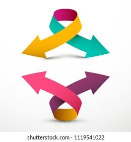 Double Arrow Logo Symbol. Up and Down Vector 3d Arrows.