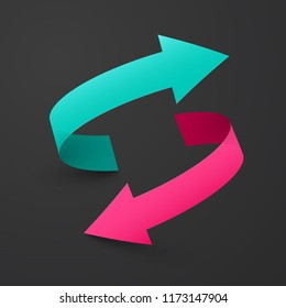 Double Arrow Symbol. Up and Down Vector Blue and Pink Arrows on Dark Background.