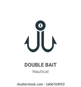 Double bait glyph icon vector on white background. Flat vector double bait icon symbol sign from modern nautical collection for mobile concept and web apps design.