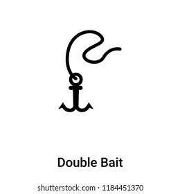 Double Bait icon vector isolated on white background, logo concept of Double Bait sign on transparent background, filled black symbol