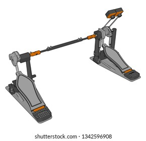 Double bass drum pedal create bass in music vector color drawing or illustration