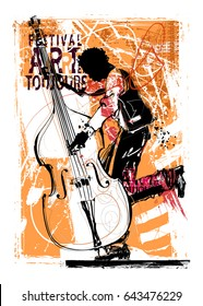 Double bass player - vector illustration