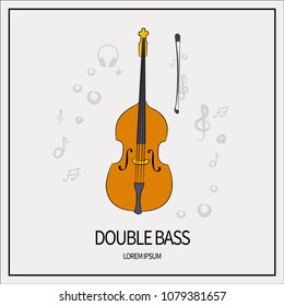 Double bass, stringed-plucked instrument. Icon isolated on a light background. With elements of a treble clef, a star, headphones, a mediator. Banner with a frame. Vector illustration.