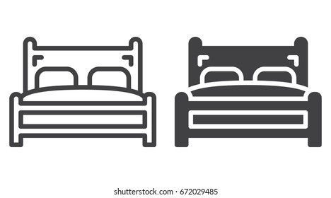 Double bed icon, line and solid version, outline and filled vector sign, linear and full pictogram isolated on white. Symbol, logo illustration