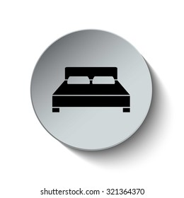 Double bed icon. Bed icon. Rounded button. Vector Illustration. EPS10