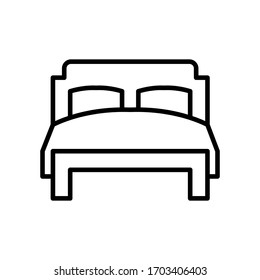 Double Bed icon vector line style