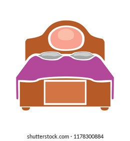 double bed illustration - vector king bed symbol. hotel icon