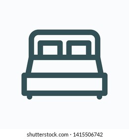 Double bed isolated icom, hotel room outline icon, bedroom linear icon
