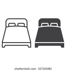 double bed line icon, outline and filled vector sign, linear and full pictogram isolated on white, logo illustration