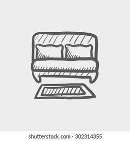 Double bed sketch icon for web and mobile. Hand drawn vector dark grey icon on light grey background.