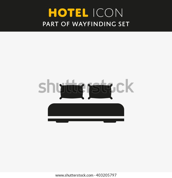 Double bed, web icon. Vector design sign. Hotel symbol. Illustration pillow EPS.