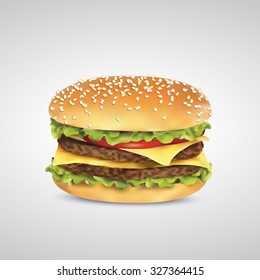 Double burger with cheese in bun with sesame realistic vector.